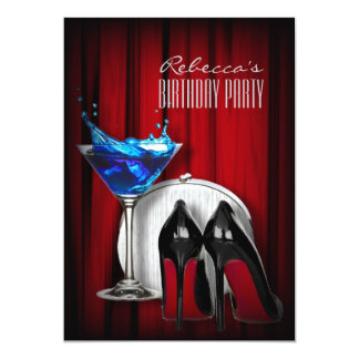 red sole stiletto girly martini cocktail party card