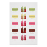 Red Soles heels stilettos AND MACARONS FLAVORS Poster
