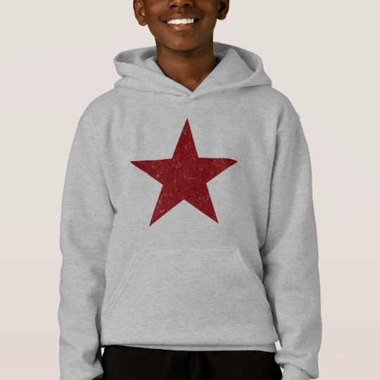 Red Solid Star Hoodie