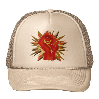 Red Solidarity Fist to Customize on Tshirts Mesh Hats