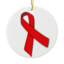 Red Solidarity Ribbon of People Living with AIDS Ceramic Ornament