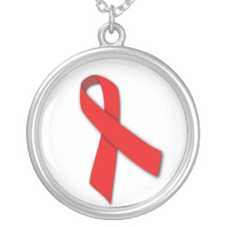 Red Solidarity Ribbon of People Living with AIDS Round Pendant Necklace