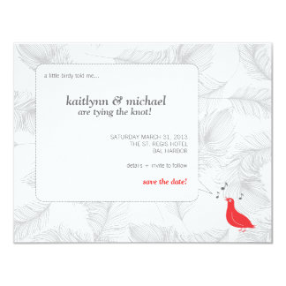 Red Songbird Save the Date Card Invite