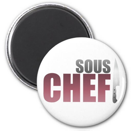 Red Sous Chef 2 Inch Round Magnet