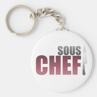 Red Sous Chef Basic Round Button Keychain
