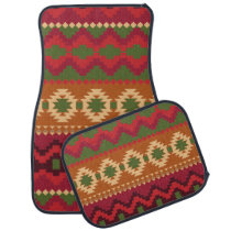 red southwest pattern -  western abstract art car floor mat