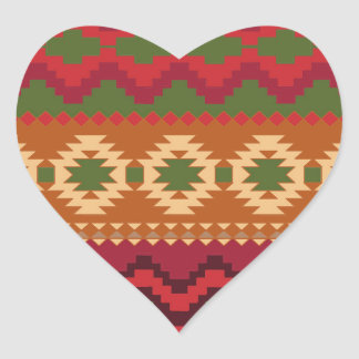 red southwest pattern -  western abstract art heart sticker