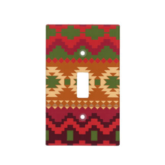 red southwest pattern -  western abstract art light switch cover