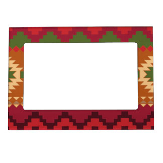 red southwest pattern -  western abstract art magnetic picture frame