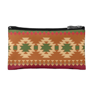 red southwest pattern -  western abstract art makeup bag