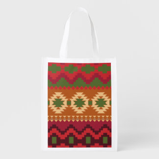 red southwest pattern -  western abstract art reusable grocery bag