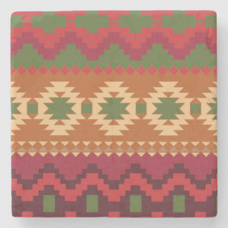 red southwest pattern -  western abstract art stone coaster