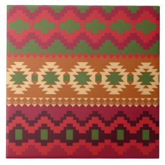 red southwest pattern -  western abstract art tile