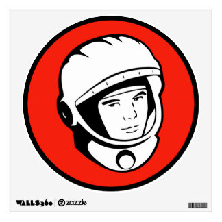 Red Soviet Cosmonaut Circle Wall Decal