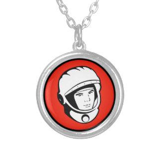 Red Soviet Cosmonaut Silver Necklace