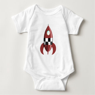Red Space Rocket Baby Bodysuit