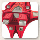 Red spaceship with engine on top beverage coaster