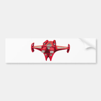 Red spaceship with engine on top bumper sticker