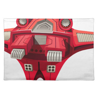 Red spaceship with engine on top cloth placemat