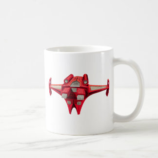 Red spaceship with engine on top coffee mug