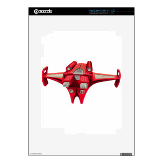 Red spaceship with engine on top decal for iPad 2