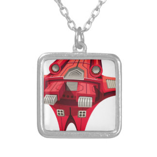 Red spaceship with engine on top silver plated necklace