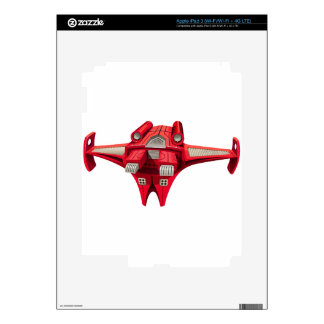 Red spaceship with engine on top skin for iPad 3