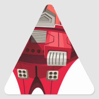 Red spaceship with engine on top triangle sticker