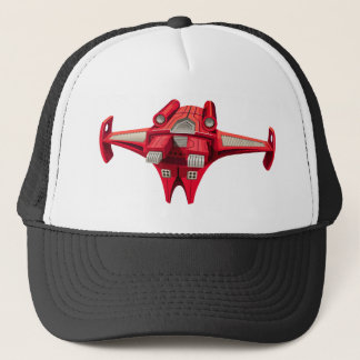 Red spaceship with engine on top trucker hat