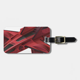 Red spaceship with wings luggage tag