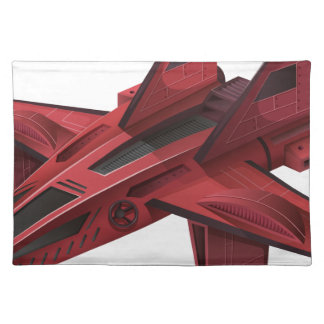 Red spaceship with wings placemat