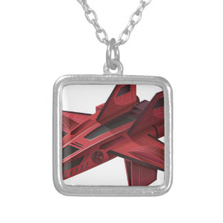 Red spaceship with wings silver plated necklace