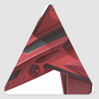 Red spaceship with wings triangle sticker