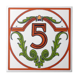 Red Spanish Letter House Number Tiles
