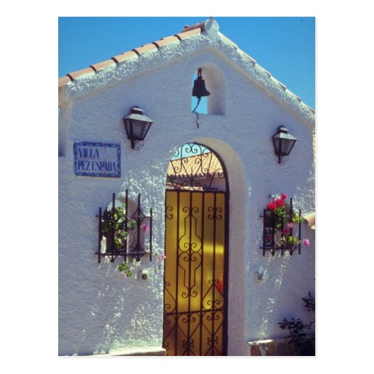 Red Spanish style door, Marbella flowers Postcard