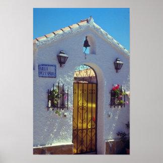 Red Spanish style door, Marbella flowers Print