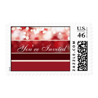 Red Sparking Personalized Postage Stamp Template