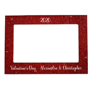 red sparkle and glitter valentines day frame