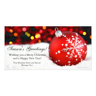 Red Sparkle Business Christmas Photo Card