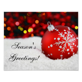 Red Sparkle Christmas Ornament Snow Poster