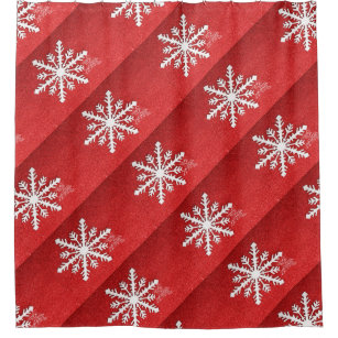 Red Sparkle Christmas Shower Curtain