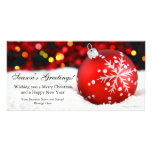 Red Sparkle Flat Business Christmas Greeting Card Photo Card