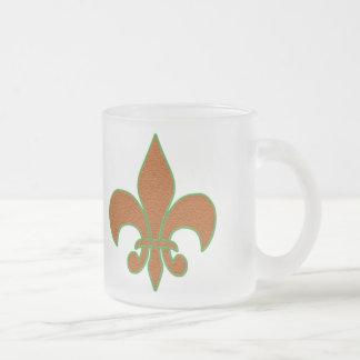 Red Sparkle Fleur de Lis Frosted Glass Coffee Mug