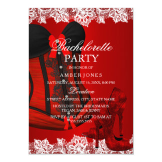 Red Sparkle Heels & Lace Corset Bachelorette Party Card