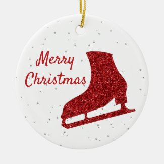 Red sparkle ice skating ornament