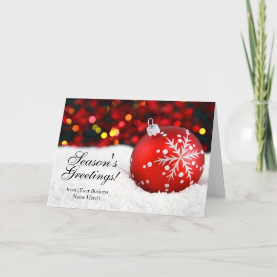 red sparkle imprinted business christmas cards - Business Christmas Cards