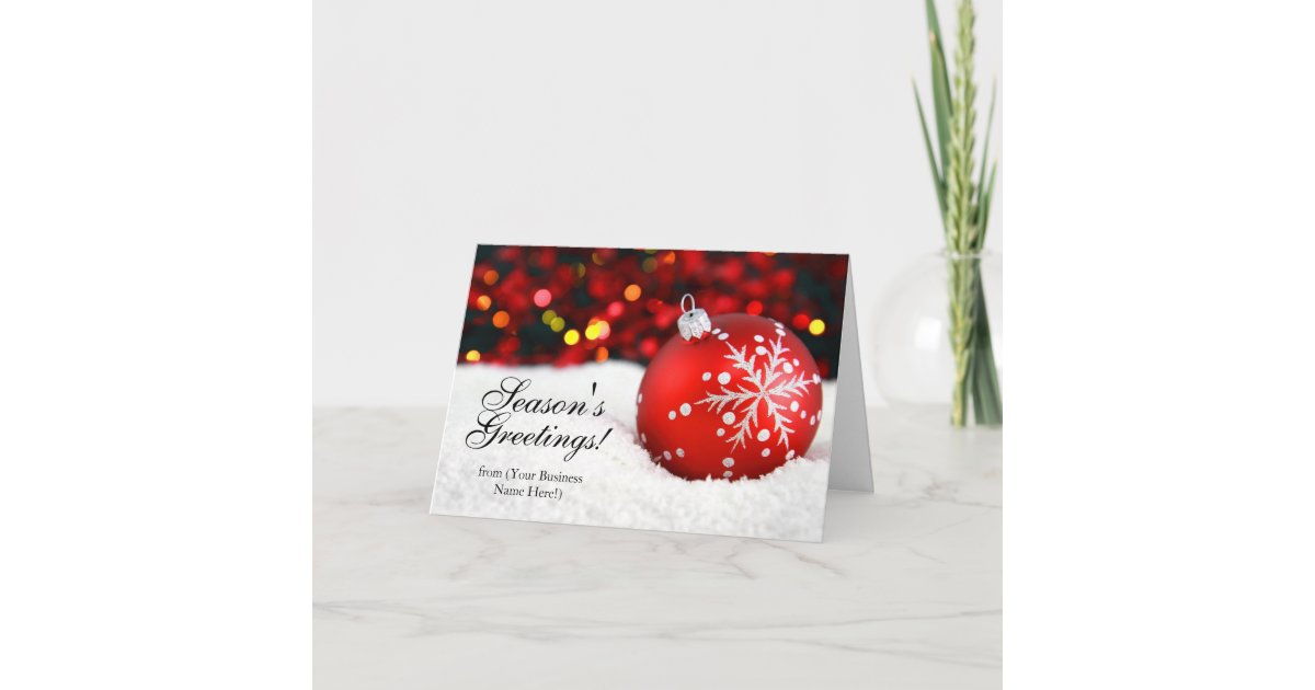 Red Sparkle Imprinted Business Christmas Cards | Zazzle.com