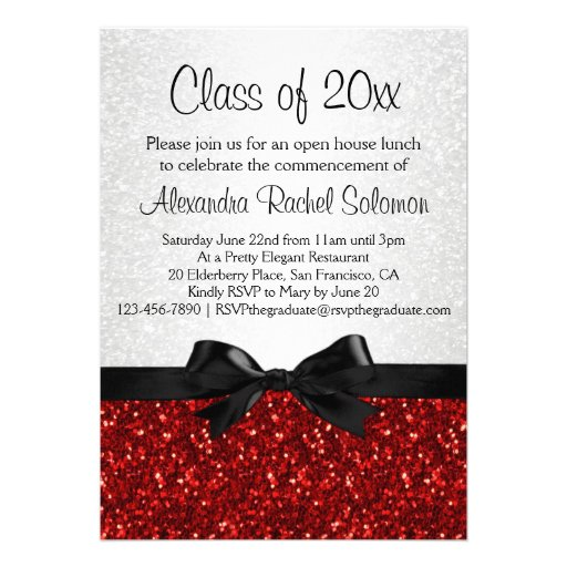 "Red Sparkle-look Bow Graduation Invitation 5"" X 7"" Invitation Card ..."