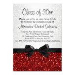 "Red Sparkle-look Bow Graduation Invitation 5"" X 7"" Invitation Card"