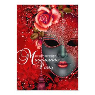Red sparkle Mask Masquerade Sweet 16 Invite